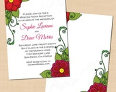 Sugar Skull Tattoo Wedding Invitation, Fiesta Reception, Red Floral (5 x 7, Portrait): Text-Editable in Word, Printable Instant Download
