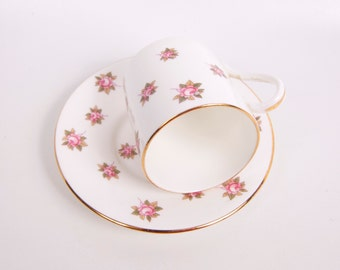 Vintage Aynsley Teacup Saucer England The Danbury Mint Fine Bone China Demitasse Pink Rose Design