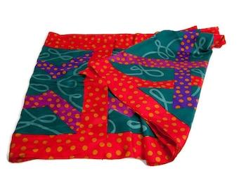 Vintage Perry Ellis Silk Scarf Jewel Tone Scarves Geometric Abstract Bright Color Wrap Designer Shawl Jewel Tone Neckware Mad Men