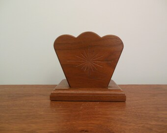 Wooden Napkin Holder or Letter Holder Solid Wood with Carved Star and Scalloped Edge