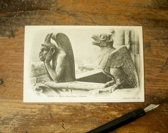 Circa 1906 Vintage French Postcard Gargoyles at Notre Dame Cathedral Paris, France Notre-Dame Chimères Post Card Undivided Back #182