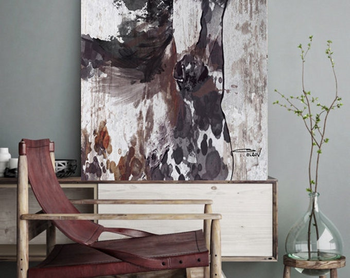 "Emaus. Extra Large Horse, Unique Horse Wall Decor, Black Brown Rustic Horse, Large Contemporary Canvas Art Print up to 72"" by Irena Orlov"