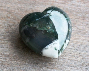 Moss Agate Large Puffy Heart # 43977