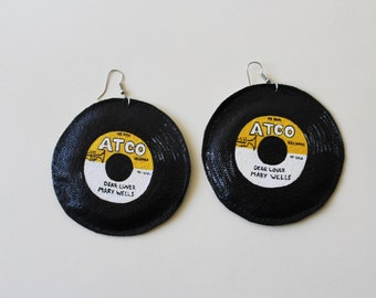 Record Earrings, Mary Wells Oldies Record Earrings, Large Yellow and White Statment Earrings, 1960's R&B, Soul Music, Hand Painted