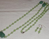 Silver Tone Shades Of Green Two Tone Long Necklace & Pierced Earrings Set