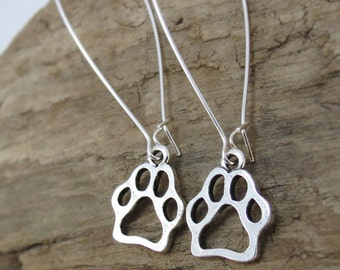 Wolf Jewelry - Silver Paw Print Earrings, Wolf Earrings - Dangle Earrings with Wolf Pawprints - Nature Lover Gifts