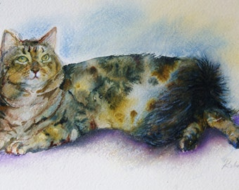 Cat painting - original watercolor tabby tortoiseshell