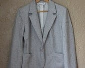 Grey and White Houndstooth Blazer