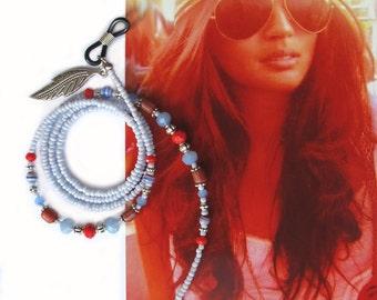 Eyewear holder, Blue silver and red, Boho, eyeglass beaded chain, Reading glasses, Sunglasses, Eyeglass jewelry, Handmade