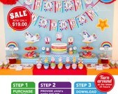 Unicorn Rainbow Party Birthday Package Personalized FULL Collection Set - PRINTABLE DIY - E3a
