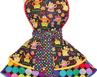 "Colorful Teapots Retro Apron--A ""Tie Me Up Aprons"" Exclusive Pinup Apron"