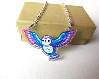 owl necklace pendant -  Acrylic jewelry animal charm
