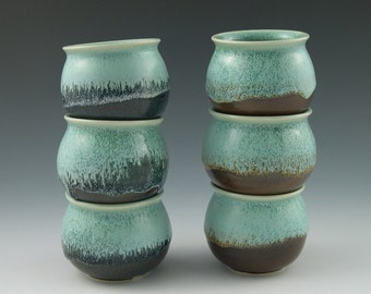 Little Cups in Aqua with Brown Handmade Pottery