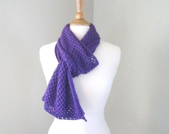 Baby Alpaca Scarf, Pretty Purple, Hand Knit, Lacy Scarf, Long Wrap Scarf, Luxury Gift
