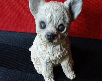 Vintage 1988 Stone Critter Littles Chihuahua Puppy figurine - United Design Corp. SCL 303