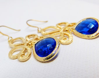 Blue Crystal Drop Earrings, Crystal Dangle Earrings, Gold Drop Earrings, Gold Dangle Earrings, Dangle Earrings, Drop Earrings