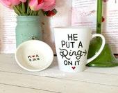Personalized mug, Ring dish set, Engagement Gift Mug, hand drawn, Hand painted, he put a ring on it mug, Bridal shower gift, trinket dish