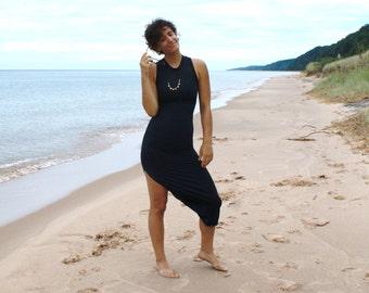 Vintage Black Body-Con Dress - Sexy 90s Stretchy Dress, Minimalist Maxi Dress SM