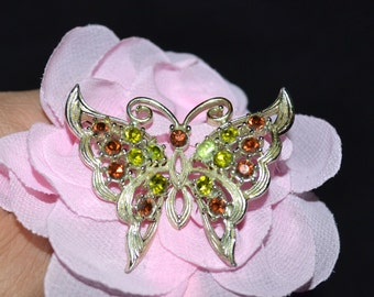 Vintage Butterfly silver tone crystal pin/brooch, green and amber crystals