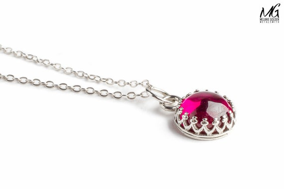 Small Pink Ruby Gemstone Necklace in Sterling Silver