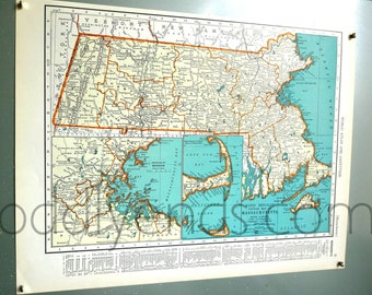 1939 Massachusetts Vintage Atlas Map