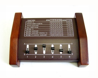 Vintage Video Master Control Switch by Carter Craft. Wood grain cabinet, 6 slider mixer for VCR,Video DVD, Video Came, Computer etc Orig Box