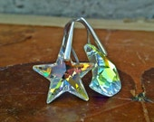 Mismatched Star Moon Earrings, Swarovski Earrings, Moon Jewelry, Crescent Moon Star Earrings, Sterling Silver Earrings