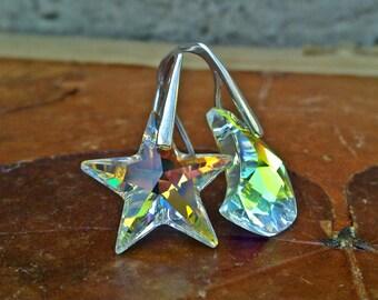 Mismatched Star Moon Earrings, Swarovski Earrings, Moon Jewelry, Crescent Moon Star Earrings, Sterling Silver Earrings
