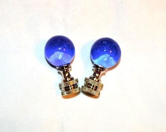 Pair Blue Glass Ball Marble Finials Vintage Chrome Bases