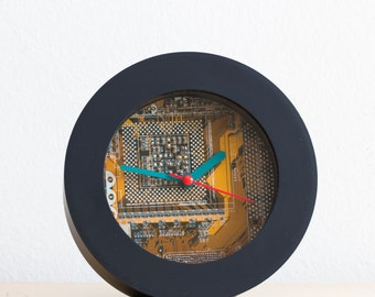 Geeky Desk / Wall clock - recycled Computer clock - yellow circuit board clock- ready to ship c7516