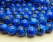 Blue Mottled Round Glass Beads - 12mm Bohemian Beads - 17pcs - BN28