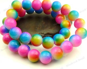 Bright Pink, Blue and Yellow Colorful Round Glass Beads - 10mm Smooth Rainbow Beads, Shiny Colorful Bohemian Beads - 20pcs - BL31