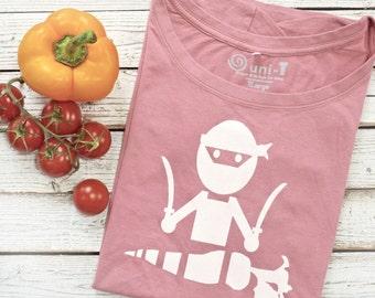 Vegan T shirt, Vegan Ninja, Vegetarian Tshirt, Vegan Tshirt, Bamboo Tshirt, Organic Cotton Tshirt, Graphic Tee Shirt, VEGE NINJA