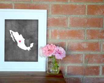 Mexico Chalkboard Country Map. Mexico Personalized Map. Wedding Map Art. Wedding Gift. Engagement Gift. Art Print 8x10.