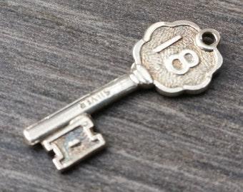 Silver '18' Key Charm - Vintage Bracelet Charm/Pendant, Coming of Age