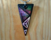 "Wooden ""Tri Nine Sublime"" Geometric Triangle Pendant burned & carved by hand"