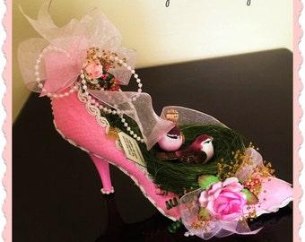 Shoe Floral Arrangement, Shabby Pink Flower Design, Inspirational Floral Design,Birds in a Nest Shoe