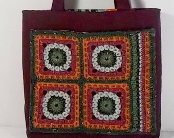 Granny Square Tote, Crochet Wool, Quilted Linen, Burgundy/Wine