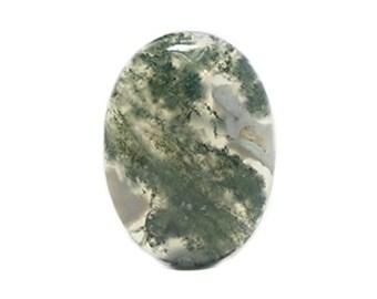 Green Moss Agate  Natural Semiprecious Gemstone Calibrated Polished Gem Stone Cabochon 30x22 mm Oval Tree Fern Clear Silica DIY Craft Jewel