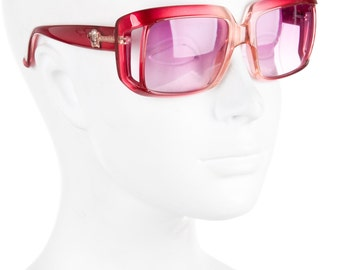 VERSACE Red + Pink Lens Oversized Square Geometric 90s does 70s Butterfly Vintage Sunglasses