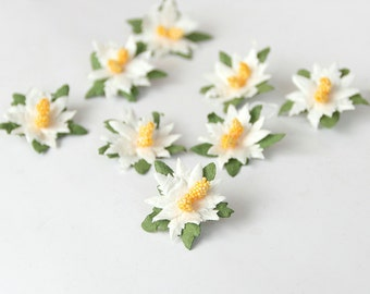 50 pcs - White small poinsettia flowers / handmade muberry paper flowers / wholesale pack