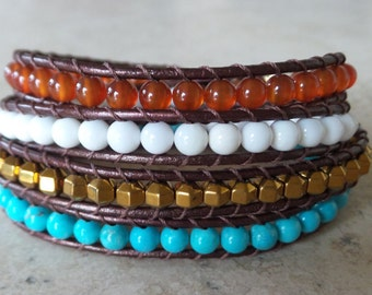 Stone Leather Wrap Bracelet