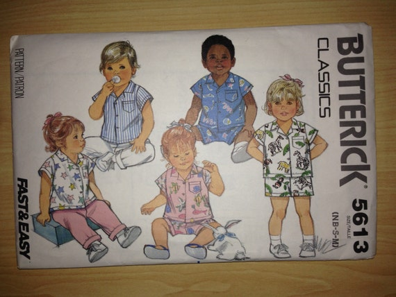 Butterick 5613 Sewing Pattern 80s Classics Fast and Easy Infants Shirt, Pants and Shorts Size NB-S-M