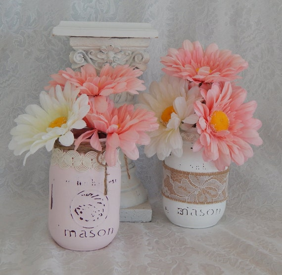 Items similar to pink and white mason jars shower