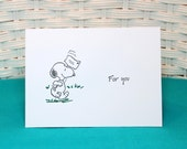 Set of 6 Hand Stamped Snoopy Note Cards