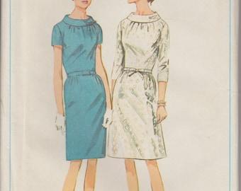 1966 Boat Neck Dress Vintage Sewing Pattern | 1960s Dress Pattern | Simplicity 6799 | 60s Belted Dress | Vintage Womens Patterns | Bust 38