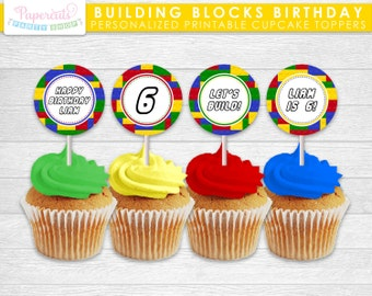 Building Blocks Theme Birthday Party Cupcake Toppers | Yellow Red Blue & Green | Personalized | Printable DIY Digital File