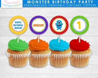 Little Monster Theme Birthday Party Cupcake Toppers | Blue, Orange, Green, Yellow, Purple & Red | Personalized | Printable DIY Digital File