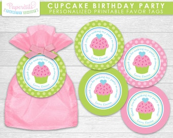 Cupcake Theme Birthday Party Favor Tags | Green & Pink | Personalized | Printable DIY Digital File