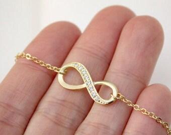 Gold Infinity bracelet, Friendship bracelet, christmas gift, Bridesmaid gift,Holiday gift bracelet,infinity jewelry,gold infinity bracelet